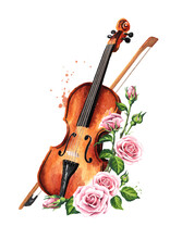 Retro Wooden Brown Violin With Bow Music String Instrument With Rose Flowers. Hand Drawn Watercolor Illustration Isolated On White Background