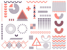 Memphis Design Of Geometric Shapes, Isolated On White. Collection Of Retro Funky Graphic Elements, 90s Trends. Universal Composition Of Memphis Symbols And Vintage Geometric Icons