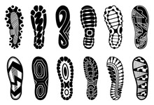 Collection Of Footprints Human Shoes Silhouette. Set Of Shoe Soles Print. Different Footprints Men Women Sneakers Shoes Boots. Isolated Footstamp Icons On White Background