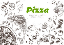 Pizza Line Banner. Engraved Style Doodle Background. Savoury Pizza Ads With 3d Illustration Rich Toppings Dough. Tasty Banner For Cafe, Restaurant Or Food Delivery Service