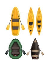 A Set Of Boats For Fishing, Rowing And Swimming. Icons On The Theme Of Water Tourism. Vector Illustration.