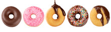 Panoramic Composition Of A Group Of Delicious Doughnuts Decorated With Different Toppings Of Melted Chocolate, Pink Icing And Color Sprinkles Isolated On A White Background