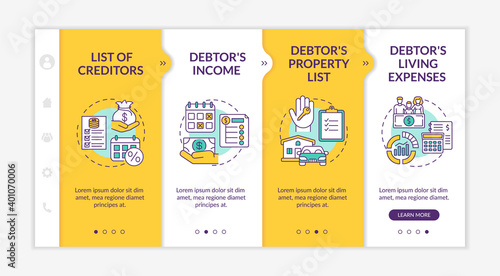 Creditor and debtor contract onboarding vector template Fototapete
