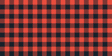 Checkered Vector Background. Square Plaid Seamless Pattern. Geometric Black Red Stripe Texture. Vector Illustration.