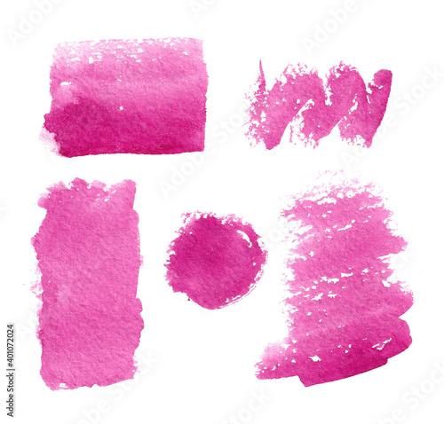 Obraz na plátně Set of pink watercolor spots on a white background