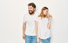 Cheerful Man And Woman T-shirts Studio Family Lifestyle