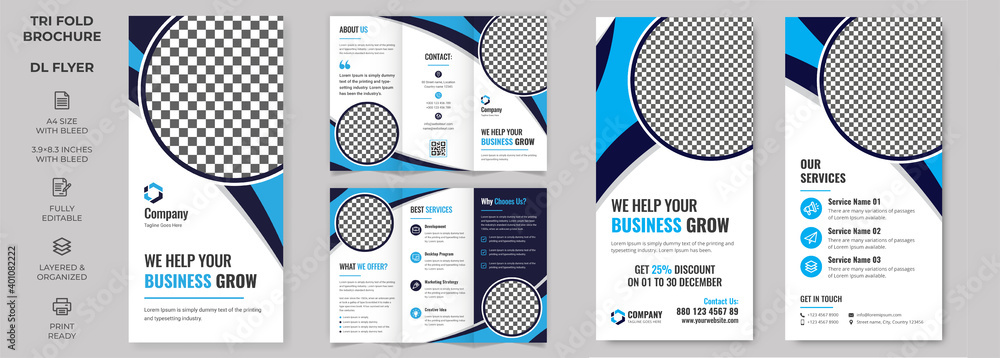 Fototapeta Vector Tri-fold Brochure and Rack Card Corporate DL FlyerTemplate, simple style and modern layout