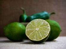 Sliced Lime Close Up Rustic Table