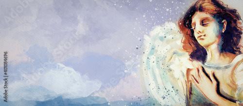 Watercolor Archangel Gabriel Wallpaper Mural