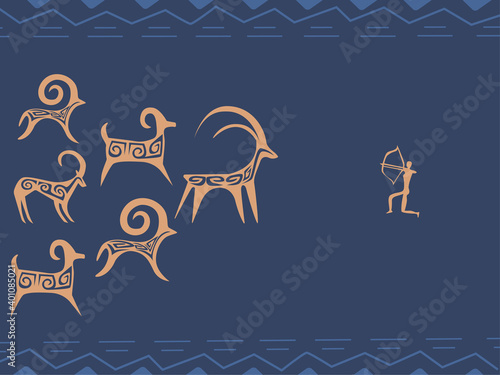 kazakh petroglyphs of sheeps and a hunter