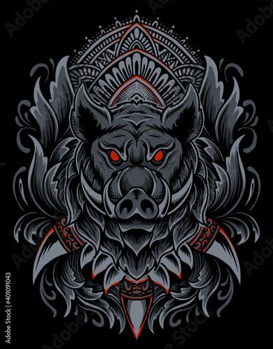Fotografija Illustration vector Wild boar head with vintage engraving ornament on black background