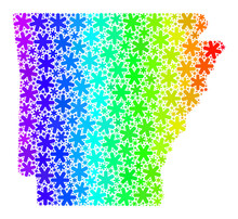 Spectral Gradient Fresh Mosaic Arkansas State Map With Snowflakes