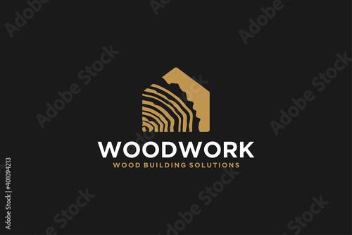 Fototapeta Capenter industry logo design - wood log, timber plank wood, woodwork handyman, wood house builder. simple minimalist icon. obraz