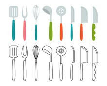 Kitchen Tools Fork Whisk, Spoon Utensils Cartoon Set. Modern Kitchen Tool Flat Cooking Dishes, Equipments. Hand Drawn Utensils Collection Icon. Corolla, Scoop, Meat Knife Spatula. Vector Illustration