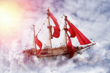 Dream World. Sailing Ship Floating Among Wonderful Fluffy Clouds