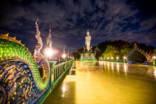 Wat Khao Phra Kru,Landmark Of Sriracha City With Two Of Great Nagas Guarded Entrance To The View Point And The Crystal Ball That Gives An Inverted View Of The Sriracha Scenery,Chonburi,Thailand