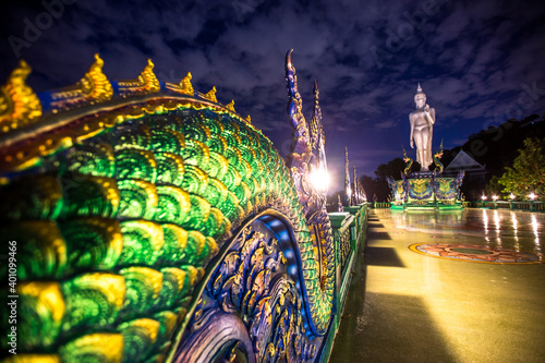 Obraz Background Wat Khao Phra Kru ,Landmark of sriracha city with two of great Nagas guarded entrance to the view point and the crystal ball that gives an inverted view of theSrirachascenery,Chonburi - fototapety do salonu