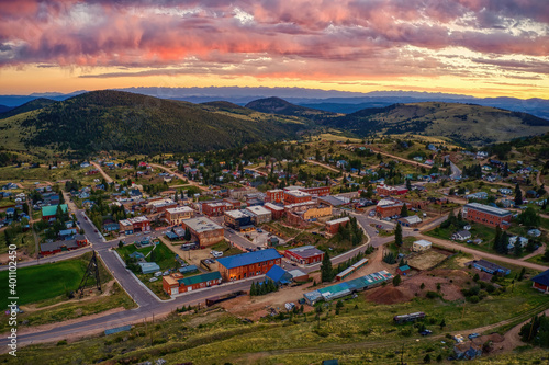 Canvas Print Victor is an antique mining Town adjacent to a large Gold Mine in the Colorado R