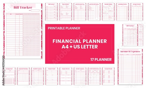 Obraz Beauty Pink Financial planner Bill,Debt,Payoff,Log,monthly,weekly,budget,Saving,Income,Expenses,Account, Credit Card,Goal,Calendar,pages templates collection set of vector A4 and US Letter Ai, EPS 10 - fototapety do salonu