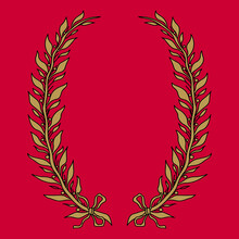 Wreath Of Two Laurel Or Bay Branches. Vintage Style. Oval Botanical Frame. Golden Border On Red Background.