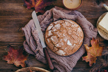 Rye Bread On A Rustic Wooden Table