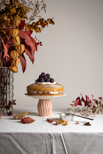 Vegan Jam Yogurt Cake Wiith Autumn Leaves