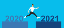 Man Jumping From Year 2020 To Year 2021 In Flat Design. Happy New Year Concept.