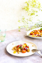 Mediteranean White Beans With Grilled Halloumi, Roasted Eggplant And Roasted Red Peppers
