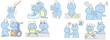 介護される老カエル9種(青色)
