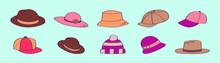 Set Of Lady Hats Cartoon Icon Design Template With Various Models. Vector Illustration Isolated On Blue Background