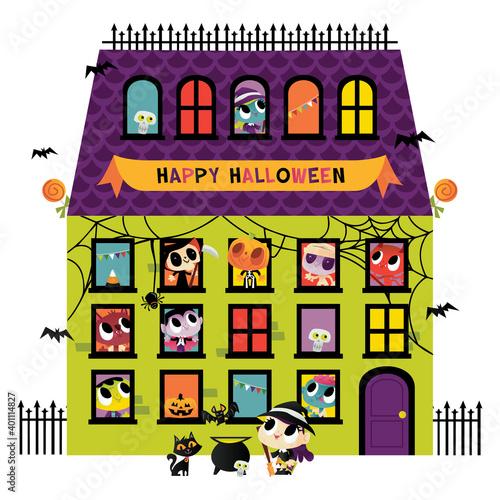 Fototapeta Super Cute Halloween Monsters Big House