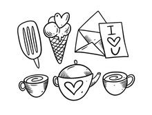 Love Doodle Set Elements. Teapot, Tea, Ice Cream And Letter. Sketch Vector Illustration. Isolated On White Background.