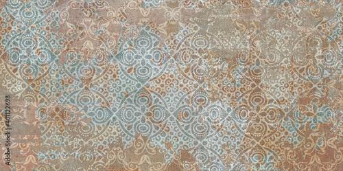 Fototapeta Digital wall tiles and background vintage wallpaper gometical design