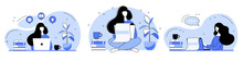 Set. Blog Creation Concept Illustration. Media Creator And Freelance Article Writer, Blog Copywriter And Content Creator. Suitable For Web Design, Banner, Mobile App, Landing Page.