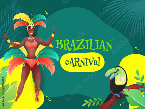 Foto Brazilian Carnival Poster Design With Female Samba Dancer, Toucan Bird And Leaves On Teal Background
