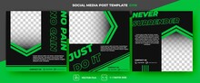 Set Of Editable Square Banners. Gym And Workout Social Media Post. Black Background And Green Arrow Shape. Suitable For Social Media, Banner, And Internet Ads. Flat Design Vector With A Photo Collage.