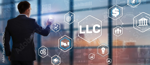 Fototapeta Limited Liability Company concept. Businessman touched LLC.