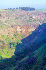 Gamla waterfall and nearby landscape. The Golan Heights