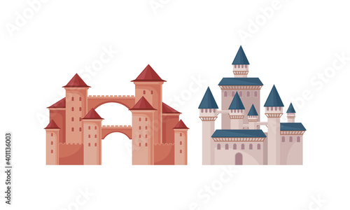 Fotomural Bright Fairy Castles as Fortified Middle Age Stone Structure Vector Set