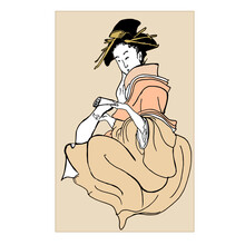 Japanese Geisha Girl And Oriental Art, Illustration In Style Of Traditional Old Japanese Engraving. Japan Traditional Culture. Vintage Paiting, Female In Kimono.
