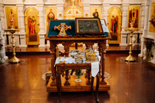 Lectern.high Table With A Sloping Top For Liturgical Books In An Orthodox Church