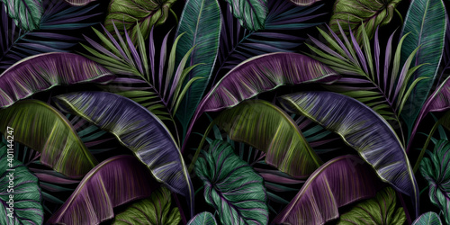 Fototapeta Tropical exotic seamless pattern with dark color vintage banana leaves, palm and colocasia. Hand-drawn 3D illustration. Good for production wallpapers, gift paper, cloth, fabric printing, goods. obraz