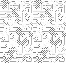 Seamless Hi-tech Electronic Monochrome Pattern. Black And White Outline Circuit Board. Vector Background