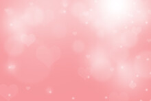 Sweet Abstract Background Concept. White Circle And Heart Shaped On Pink Wallpaper Cute For Love Or Valentine Day.