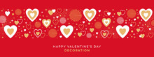 Valentines Day Festive Design With Border Made Of Beautiful Hearts And Sparkles In Modern Flat Line Art Style. Bright Red Background With Hearts. Romantic Decoration For Valentines Day Or Wedding