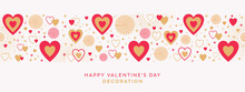 Valentines Day Festive Design With Border Made Of Beautiful Golden Red Hearts And Sparkles In Modern Flat Line Art Style Isolated On White Background. Romantic Decoration For Valentines Day Or Wedding