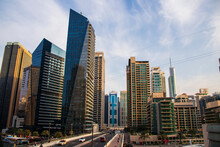 View Of Some Towers In Jumeirah LAkes Towers And Dubai Marina Areas Of Dubai. Outdoors