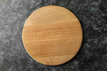 Empty Wooden Board On Black Smokey Background