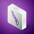 Isometric line Police shotgun icon isolated on purple background. Hunting shotgun. Silver square button. Vector.