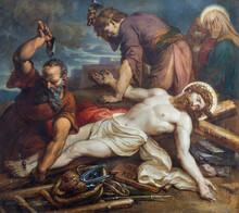 VIENNA, AUSTIRA - OCTOBER 22, 2020: The Painting Jesus Is Nailed To The Cross In Church St. Johann Der Evangelist By Karl Geiger (1876).